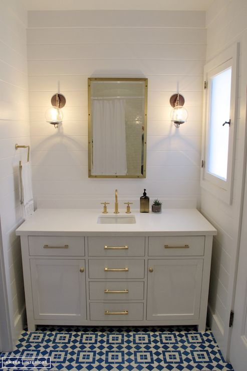 Chic Cottage Bath Features Horizontal Tongue And Groove Paneling Framing  Restoration Hardware Rivet Medicine Cabinet Flanked