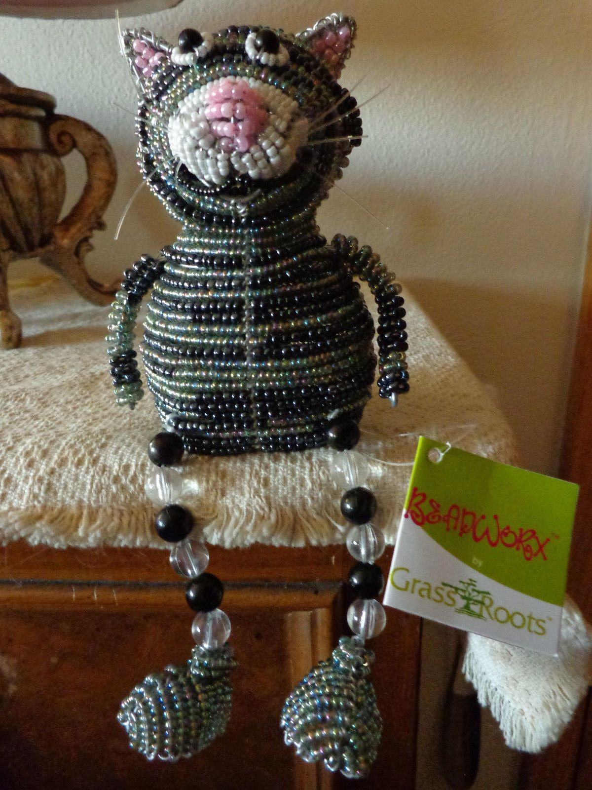 Beadworx Glass Beads Beaded Wire Cat, Artisan Sculpture