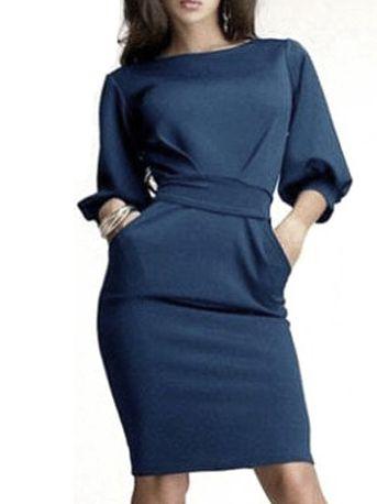 Womens Summer Slim Fit OL Lady Half Sleeve Chiffon Skirt Formal Dress Belt New