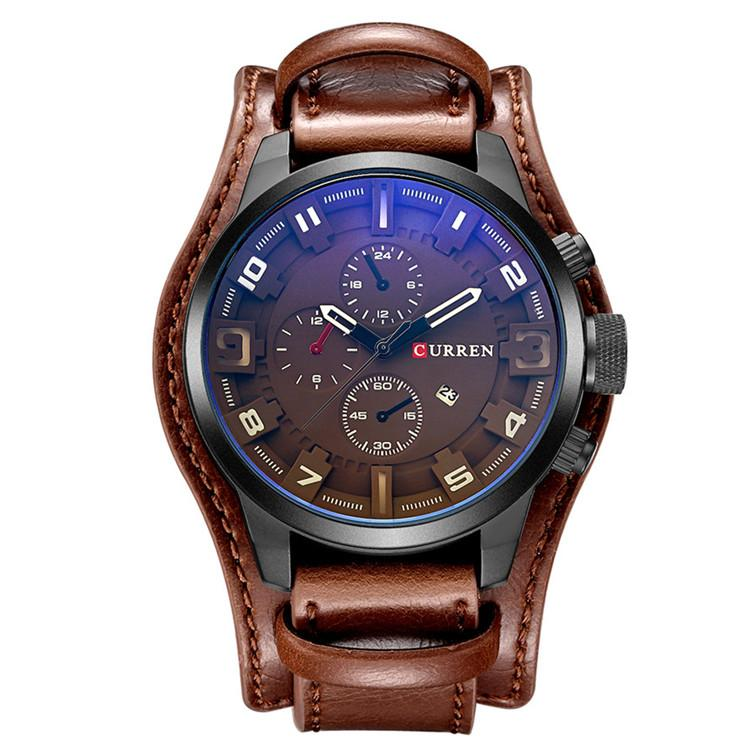 CURREN Waterproof Leather Military Style Sports Watch  cd11714139ca