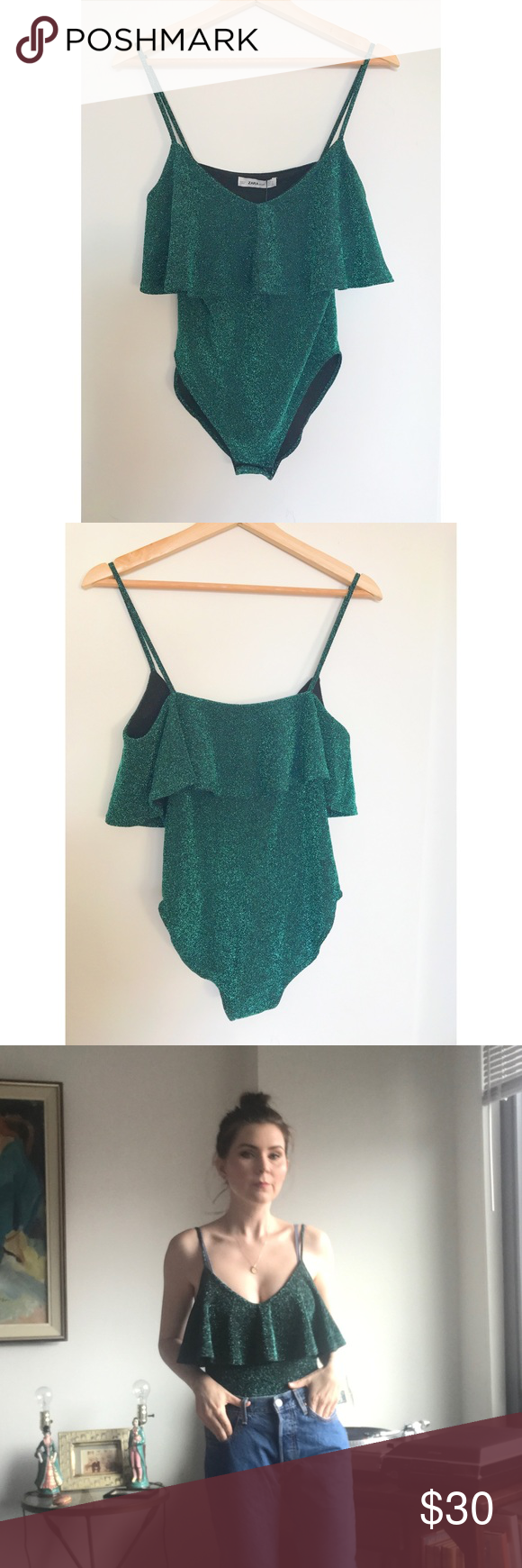82f669bf9f NWT Teal Zara glitter ruffle bodysuit M Super cute Zara bodysuit with ruffle  and spaghetti straps and snaps underneath. Very comfortable on (reverse  fabric ...