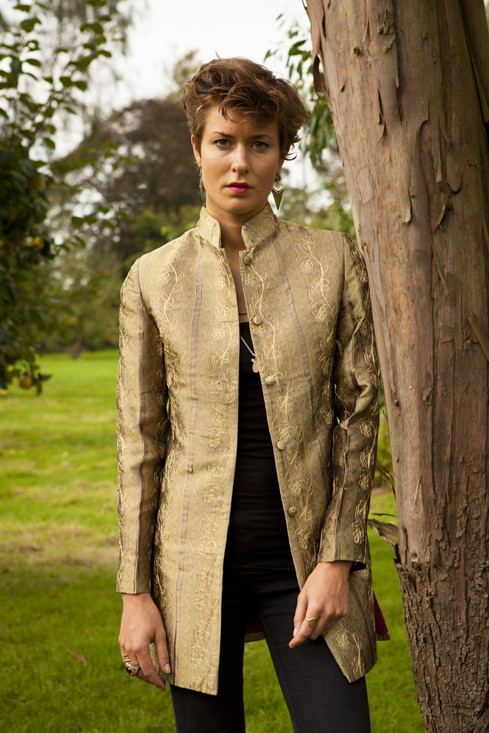 0e95da2137f Silk Long Nehru Jacket in Antique Gold - £305 #silk #jacket #fashion #women  #shibumi