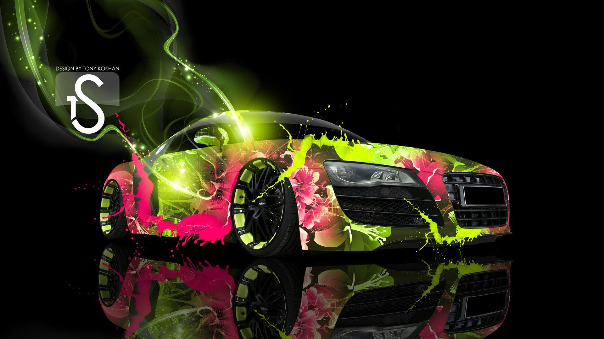 Audi R8 Green Pink Abstract Car Art Audi R8 Pink Pink Wallpaper Audi