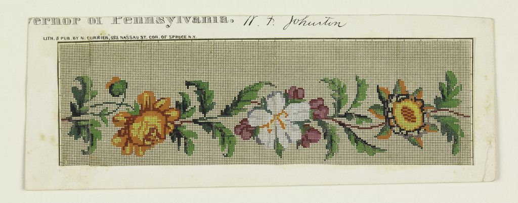 Design on graph paper for Berlin wool work, a band of flowers and - cross stitch graph paper