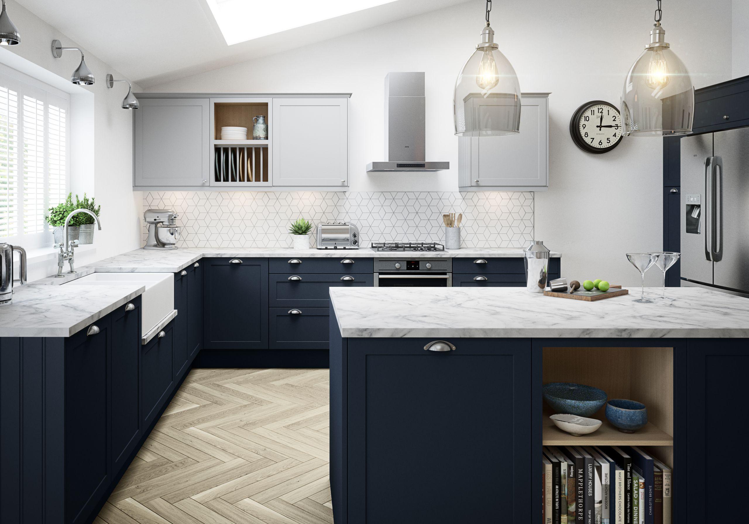 33+ Navy and white shaker kitchen custom