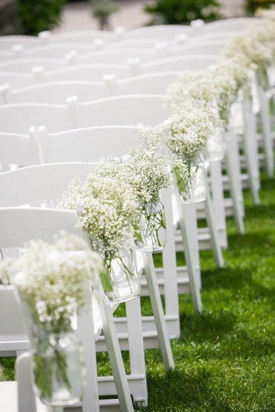 Simple Outdoor Wedding Ceremony Decor Idea Baby S Breath Aisle Markers Maine Tinker