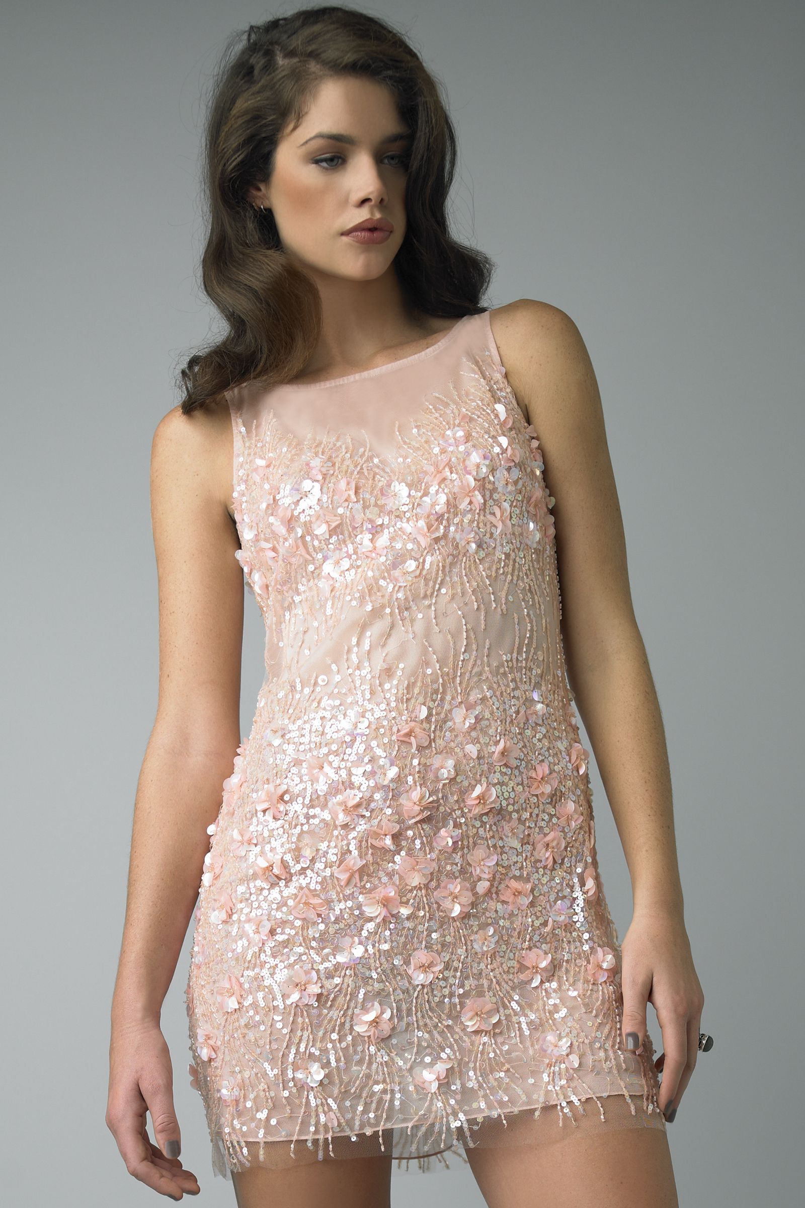 Sequined Nude Cocktail Dress With Nude Elements and Tulle ...
