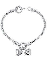 """Fashionvictime - Bracelet Femme - """"Coeur"""" - Plaqué Argent - Bijou Soldes St Valentin"""