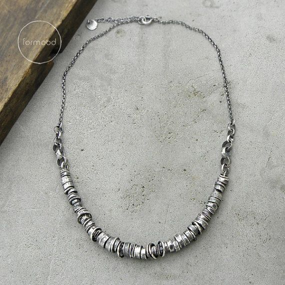 Sterling silver  Necklace oxidized raw sterling silver necklace    Sterling silver  Necklace oxidized raw sterling silver necklace