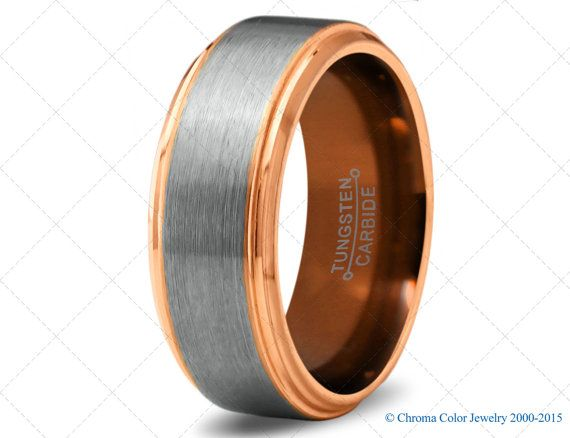 Mens Wedding Band Copper Tungsten Carbide Ring Man Wedding Bands 18k Rose Gold Polished 8mm 6mm Tungsten Carbide Mens Rings Mens Wedding Bands Rose Gold Polish