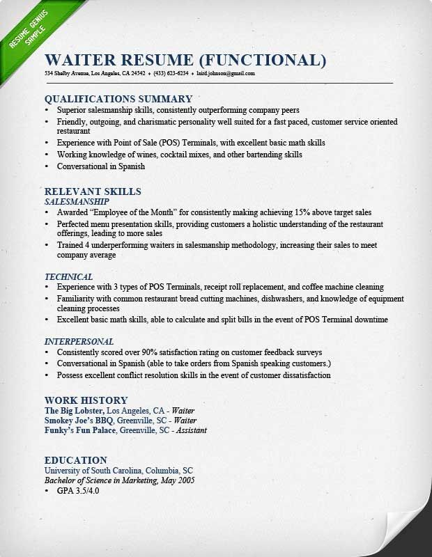 Resume Examples Waitress Pinterest Sample resume, Resume - waitress resume
