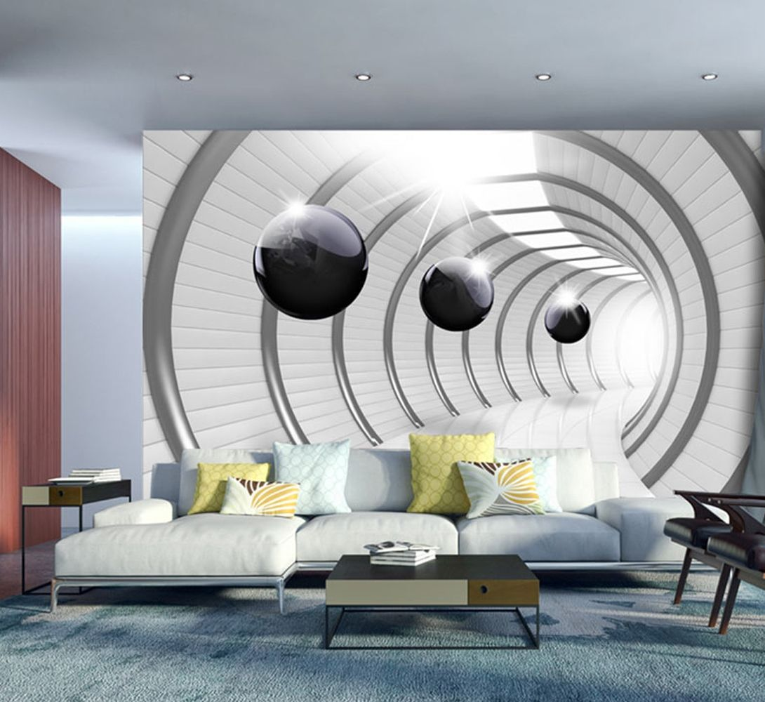 wall mural futuristic tunnel in 2020 3d wallpaper for on wall murals id=33213