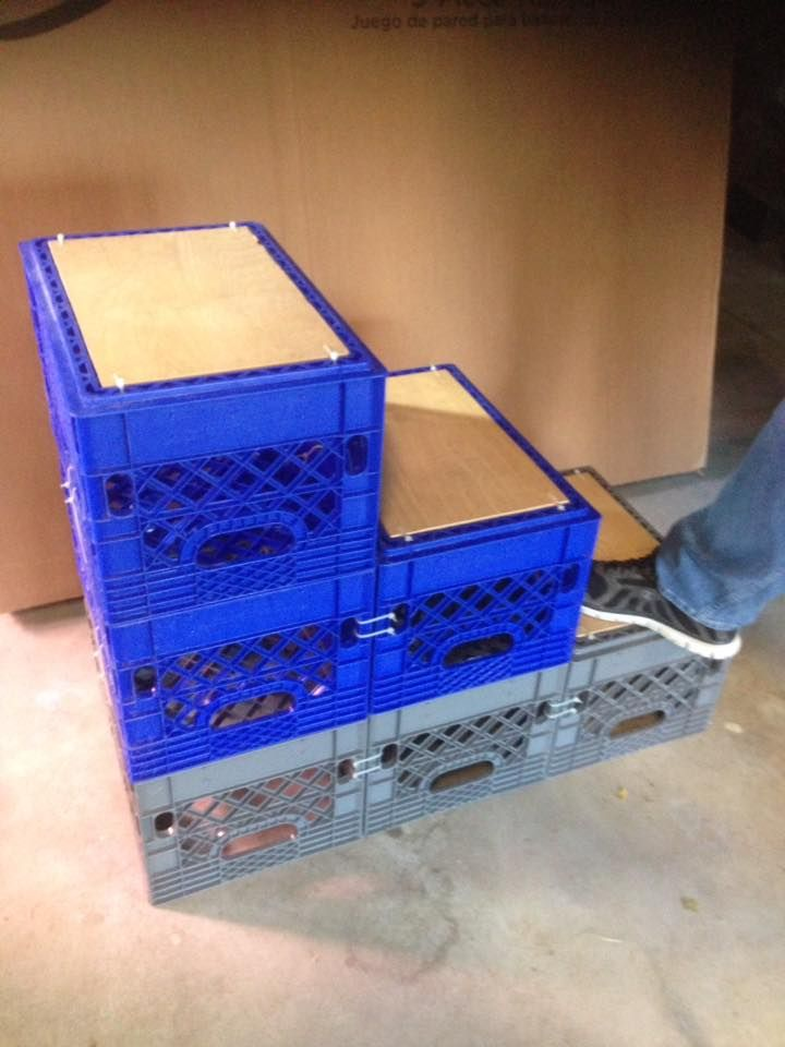 Mounting steps made out of milk crates zip tied together for Milk crate crafts