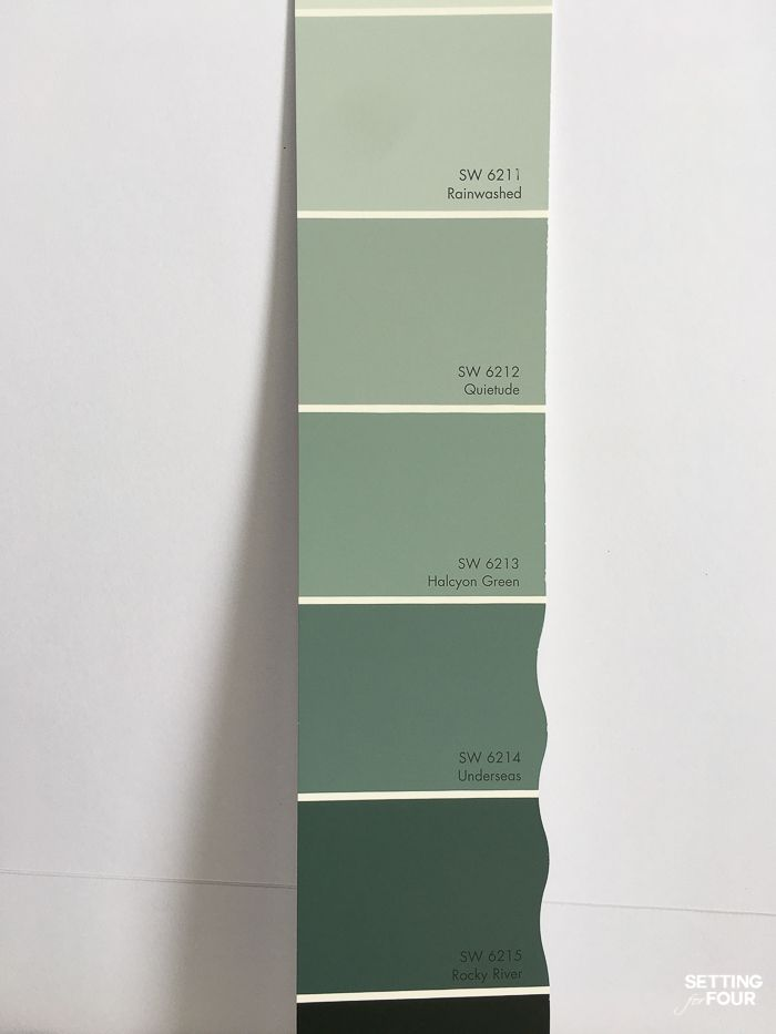 Understand the Color Undertones of any paint color! Pick the right color for your room! See the color undertone of Sherwin Williams Rainwashed and greens. #decor #design #paint #color #undertones #green #rainwashed #sherwinwilliams #home #ideas
