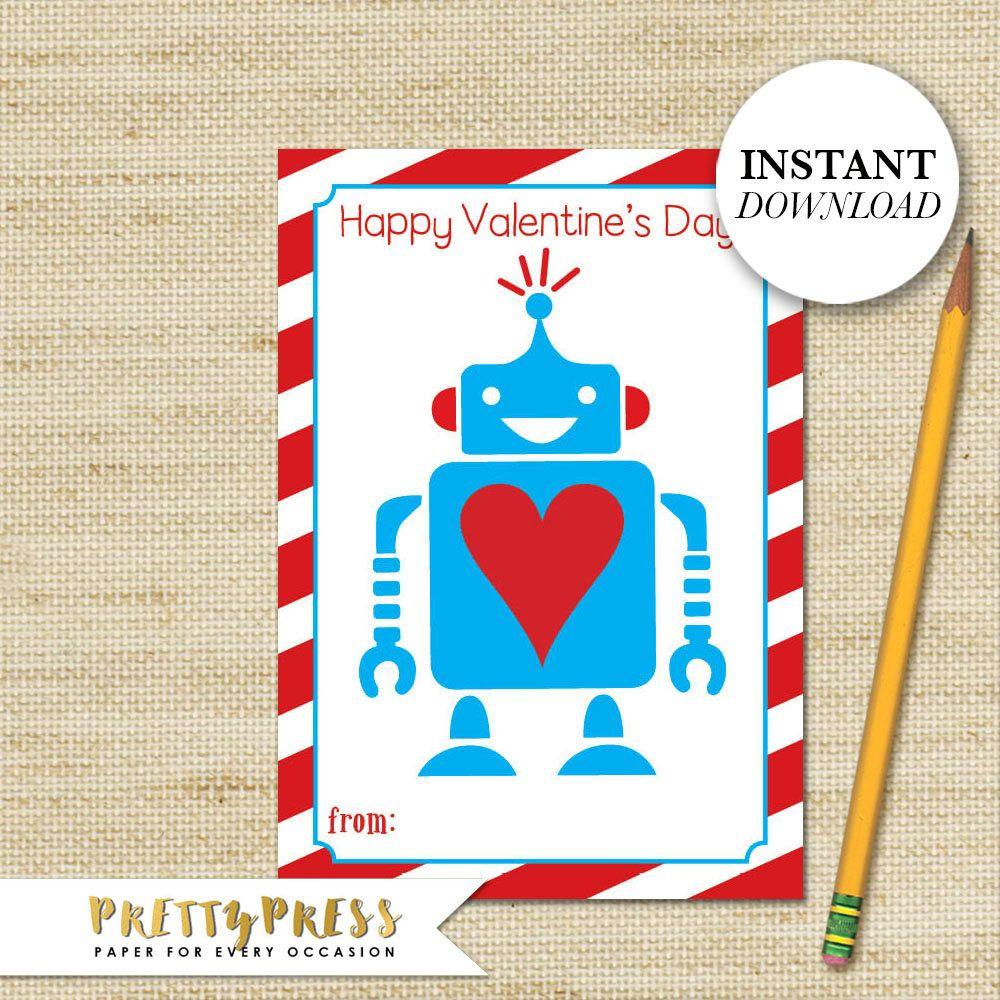 Robot Valentine Card Instant Download School Valentine S Boy