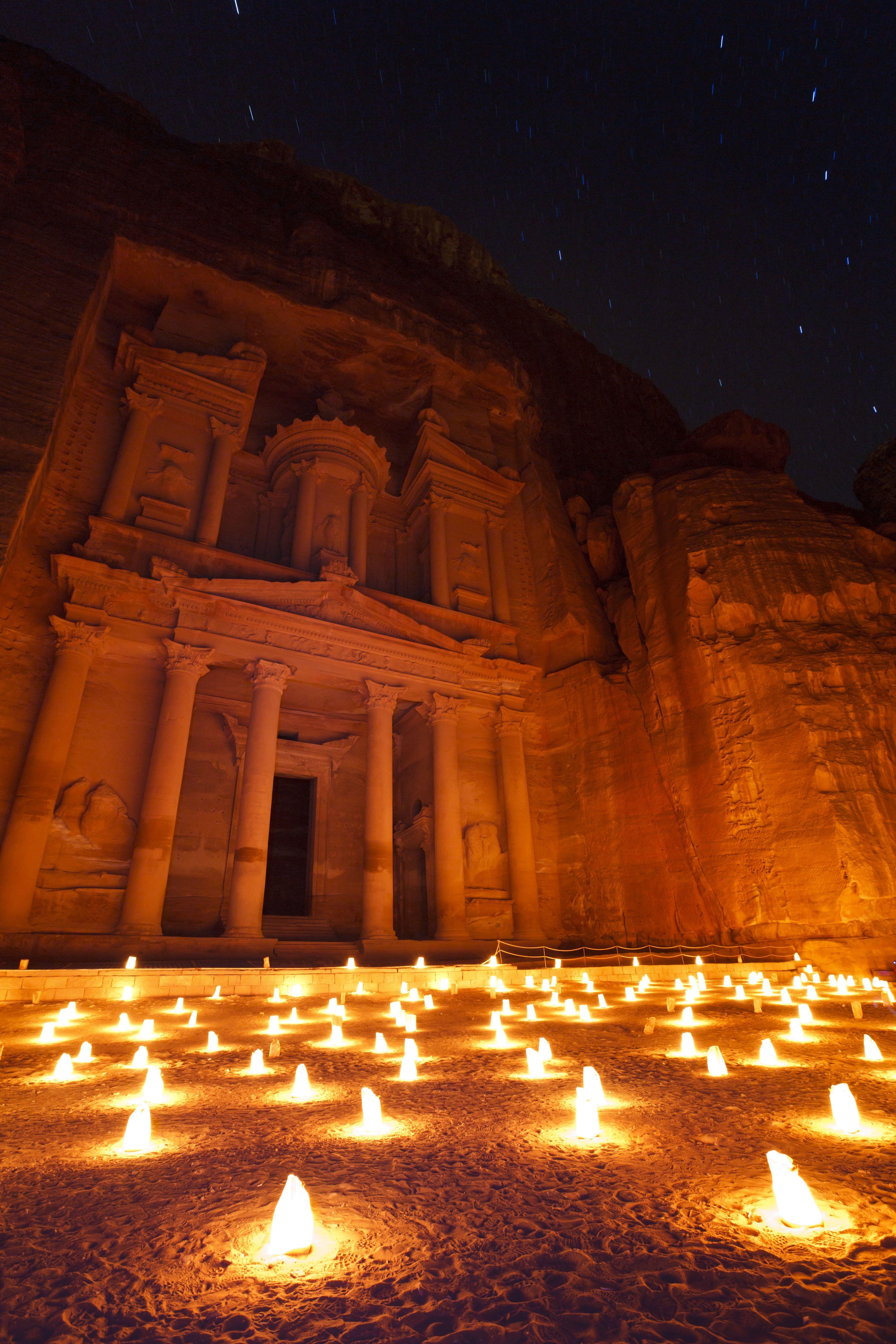 The Treasury at Petra, illuminated at night by the light of 1,800 candles