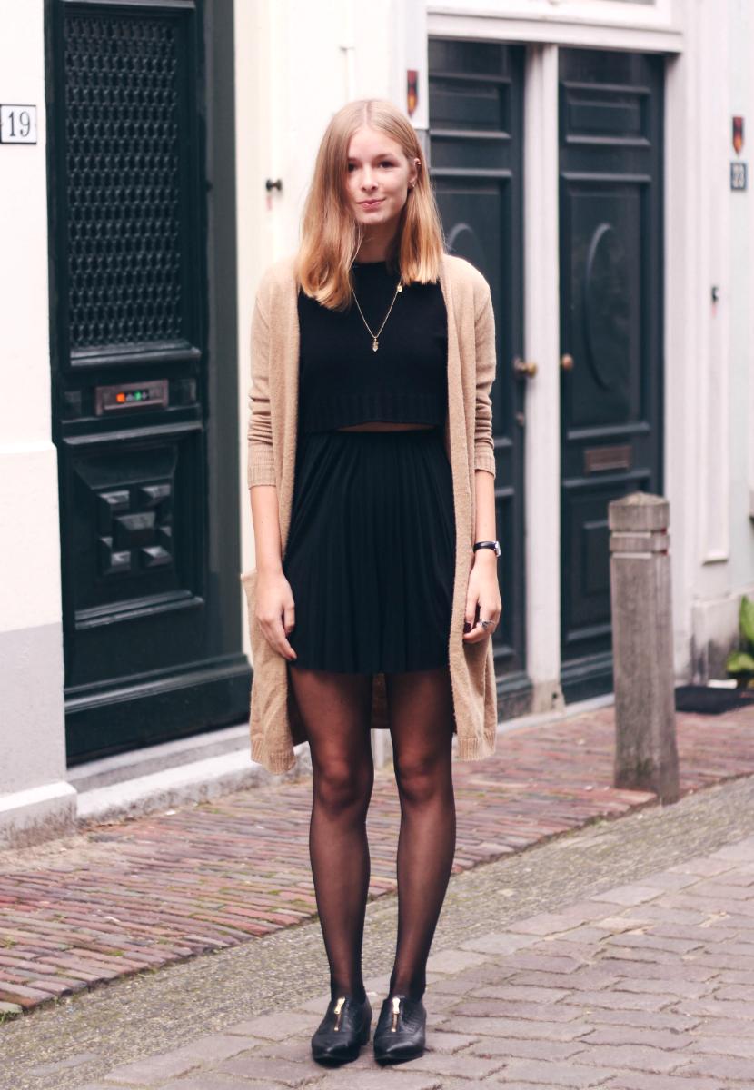 Khaki and black dress