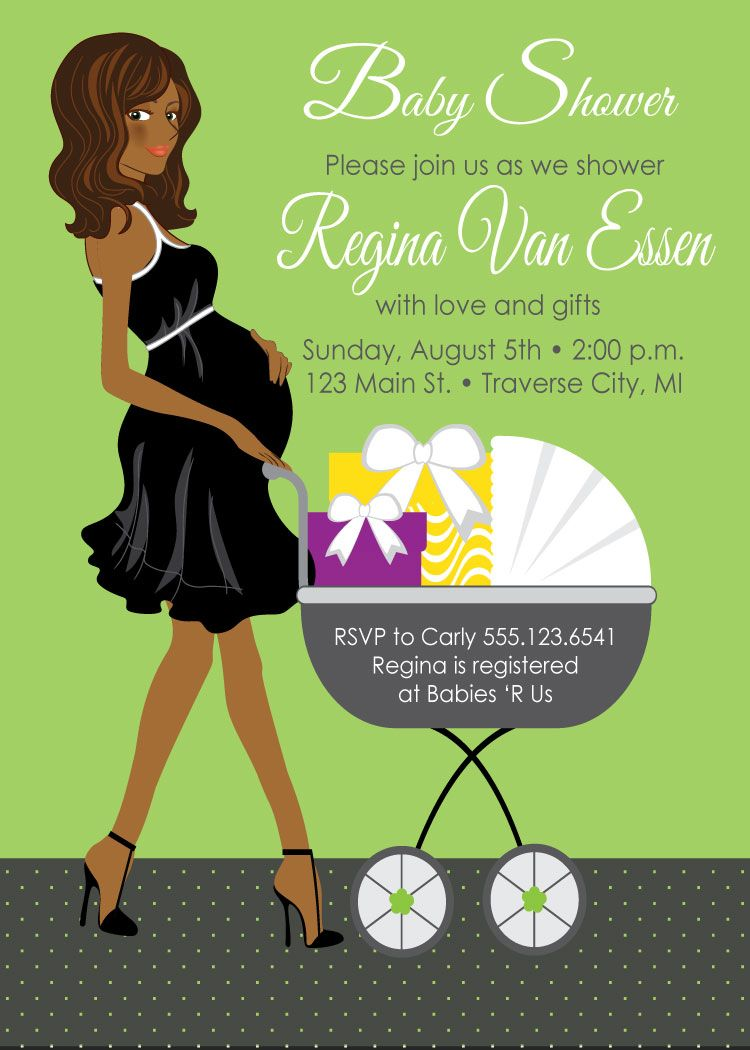 Carriage Neutral Baby Shower Invitations African American | Party ...