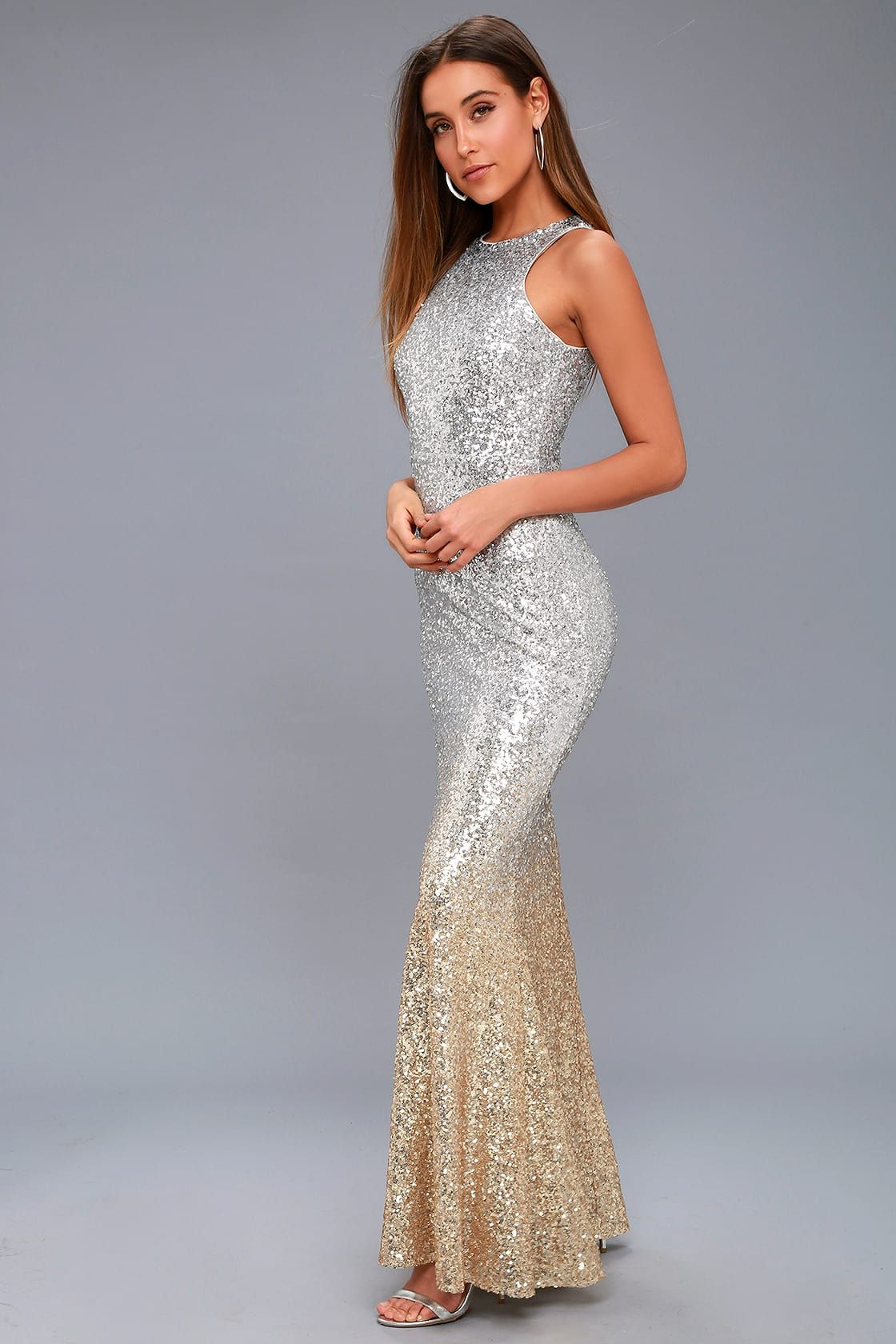 67a61ac27c2 Infinite Dreams Gold and Silver Ombre Sequin Maxi Dress