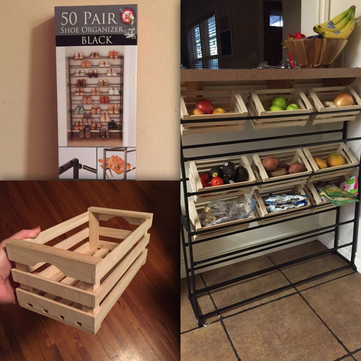 Kitchen Pantry Hacks: Kitchen/storage Hack: Shoe Rack + Mini Crates From Daiso ($1.50 Each) = Produce Rack