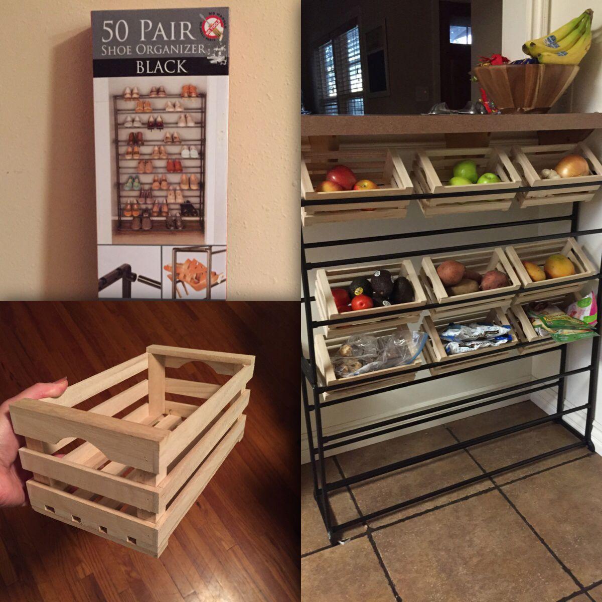 Kitchenstorage hack shoe rack mini crates