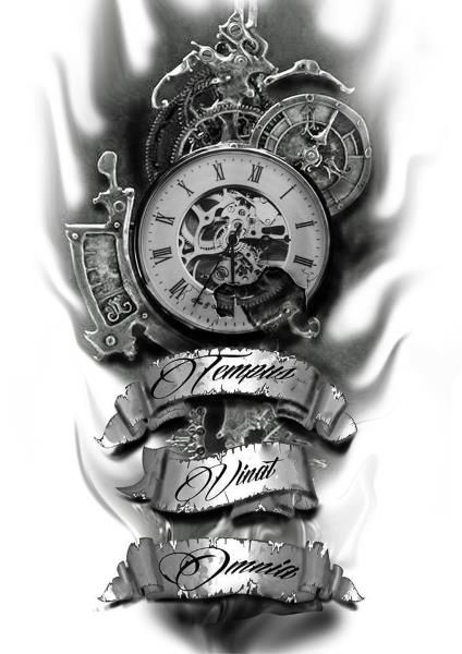 Uhr tattoovorlage 37 Kostenlose
