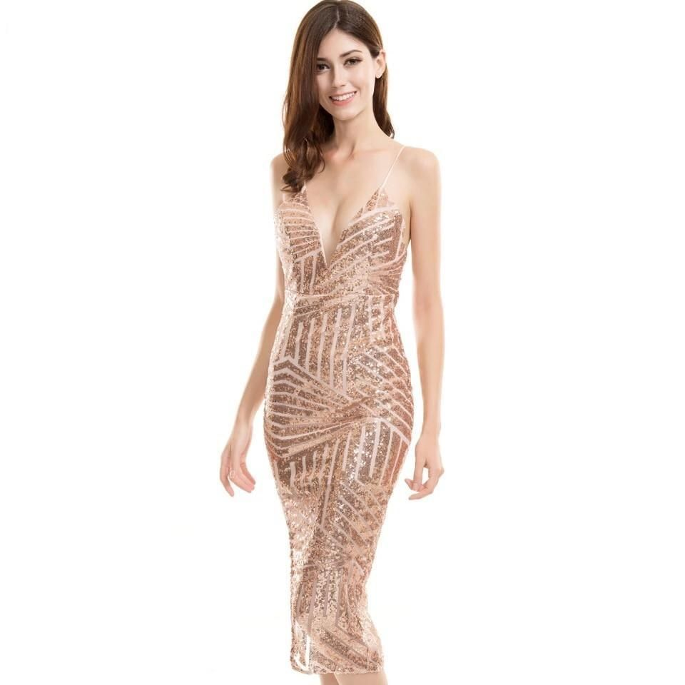 High shine gold sheer sequin midi party dress sequin midi dress