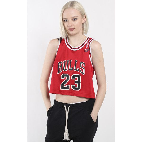 26d3a98e08d752 Vintage Chicago Bulls Crop NBA Jersey ( 64) ❤ liked on Polyvore featuring  tops