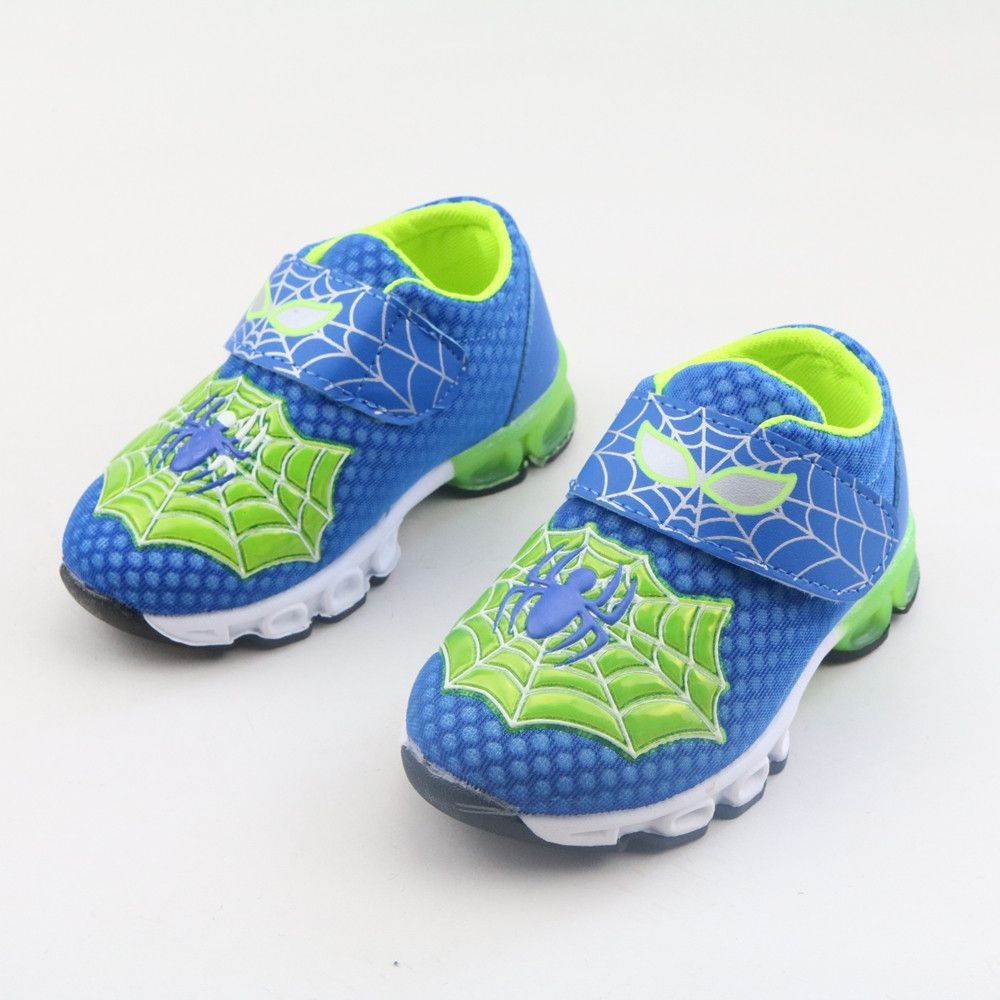 2016 Autumn new children Korean cartoon Spiderman running shoes safty quality breathable LED fashion sneakers for boys size22-26