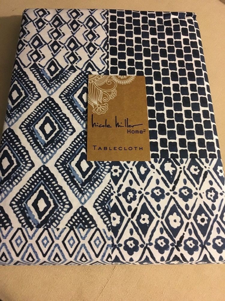 Merveilleux Nicole Miller Blue White Geometric Print Tablecloth Various Sizes U0026 Shapes  New! #NicoleMiller