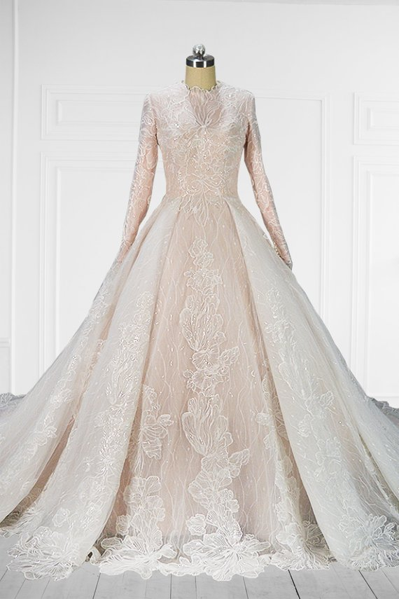 Unique Conservative Lace Long Sleeve Wedding Gown in 2019  f91d572a3a1f