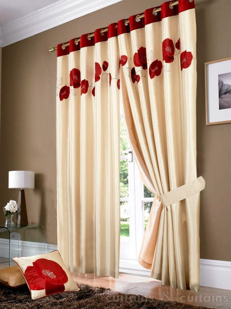 Golden Cream Amp Red Poppy Ring Top Eyelet Curtain Red