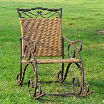 International Caravan   Valencia Wrought Iron And Wicker Patio Rocker Chair