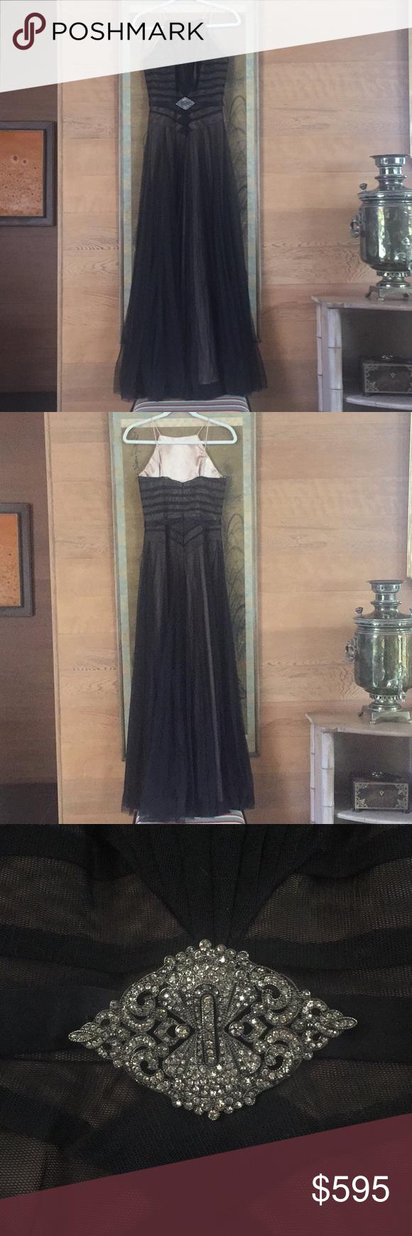 Badgley mishka gorgeous long black tulle dress nwt