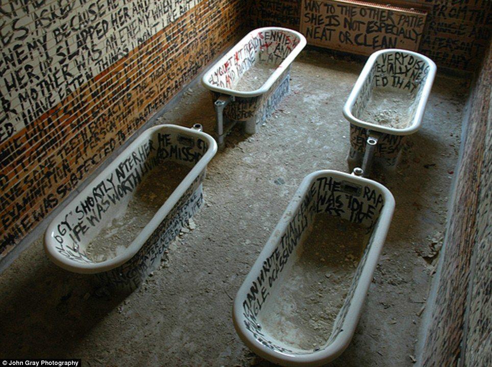 Manteno State Hospital, Illinois. Graffiti inside the bath house. Demolished.
