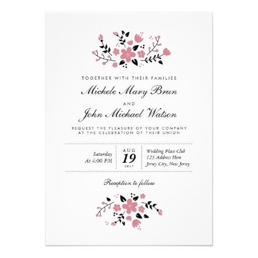 Pretty Floral Modern Stylish Wedding Invitation designed by pinkpinetree