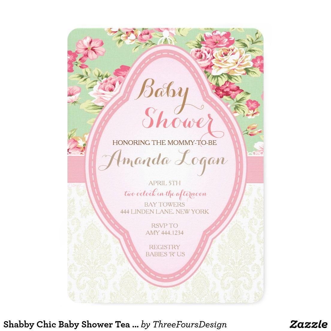 Shabby Chic Baby Shower Tea Party Invitations   WEDDING: BRIDAL ...