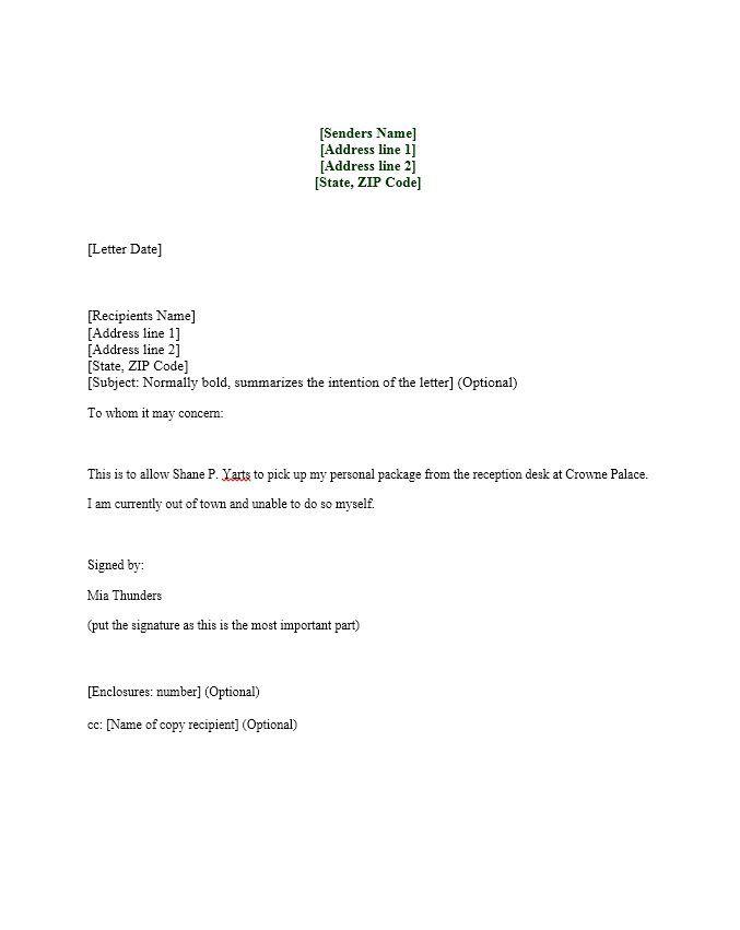 Authorization Letters Templates Lettering Letter Sample