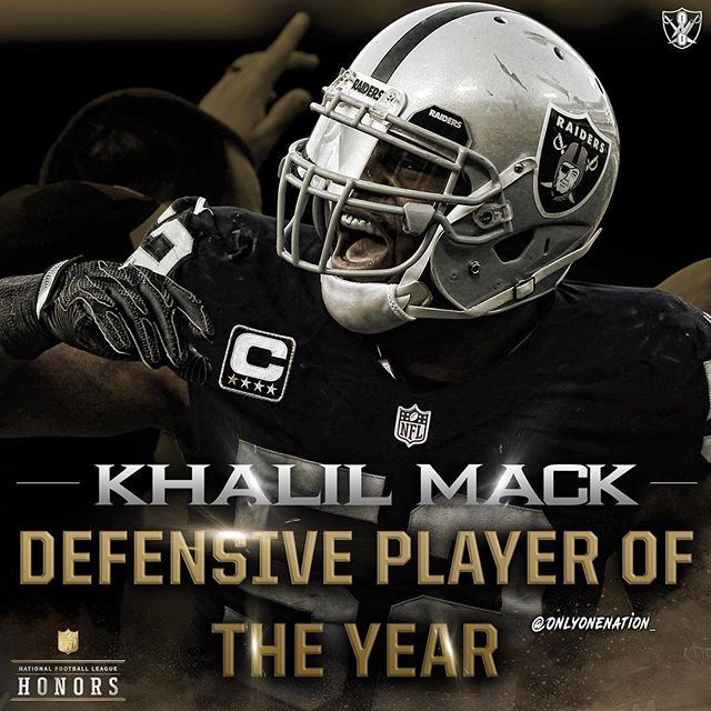 Khalil Mack Has Been Named Defensive Player Of The Year Khalilmack Raiders Oaklandraiders Silverandb Oakland Raiders Raiders Players