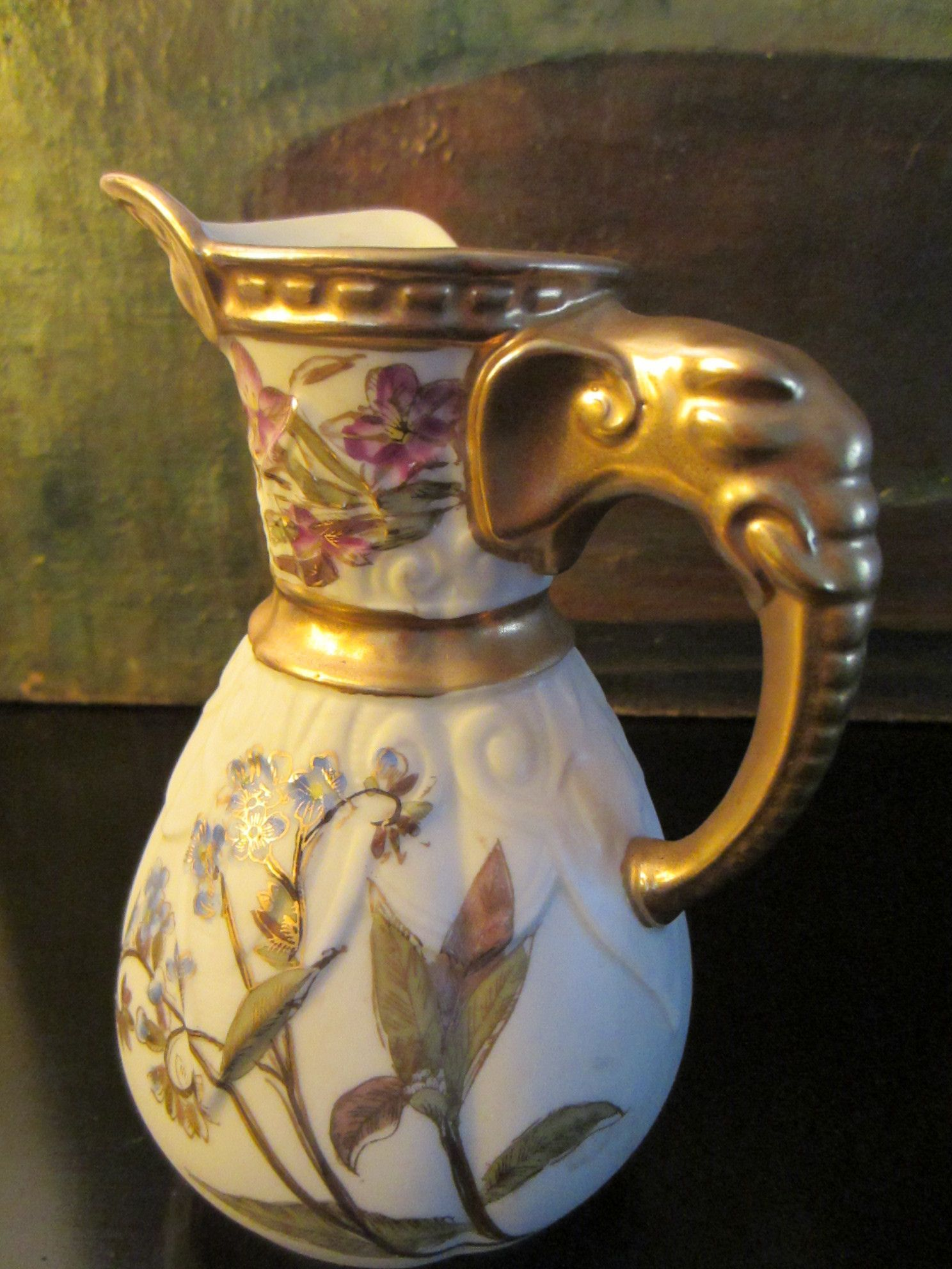 Royal Worcester Jug Antique Pitcher Hand Painted Porcelain Elephant Gold Handle