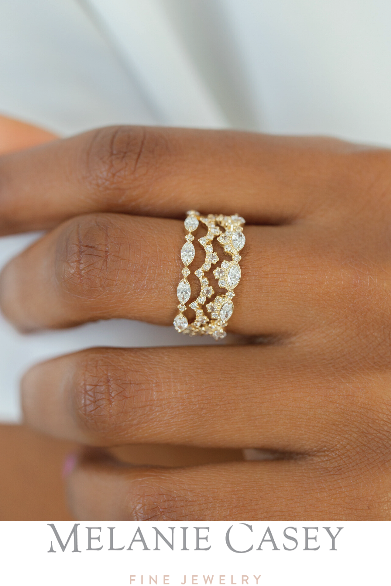 Diamond Interwoven Band, Lace Edge Ring, Chantilly Band. All in 14k yellow gold, with white diamonds. Find these stacking rings and more at melaniecasey.com! #stackingrings #ringstack #fancy #unique #weddingband #yellowgold