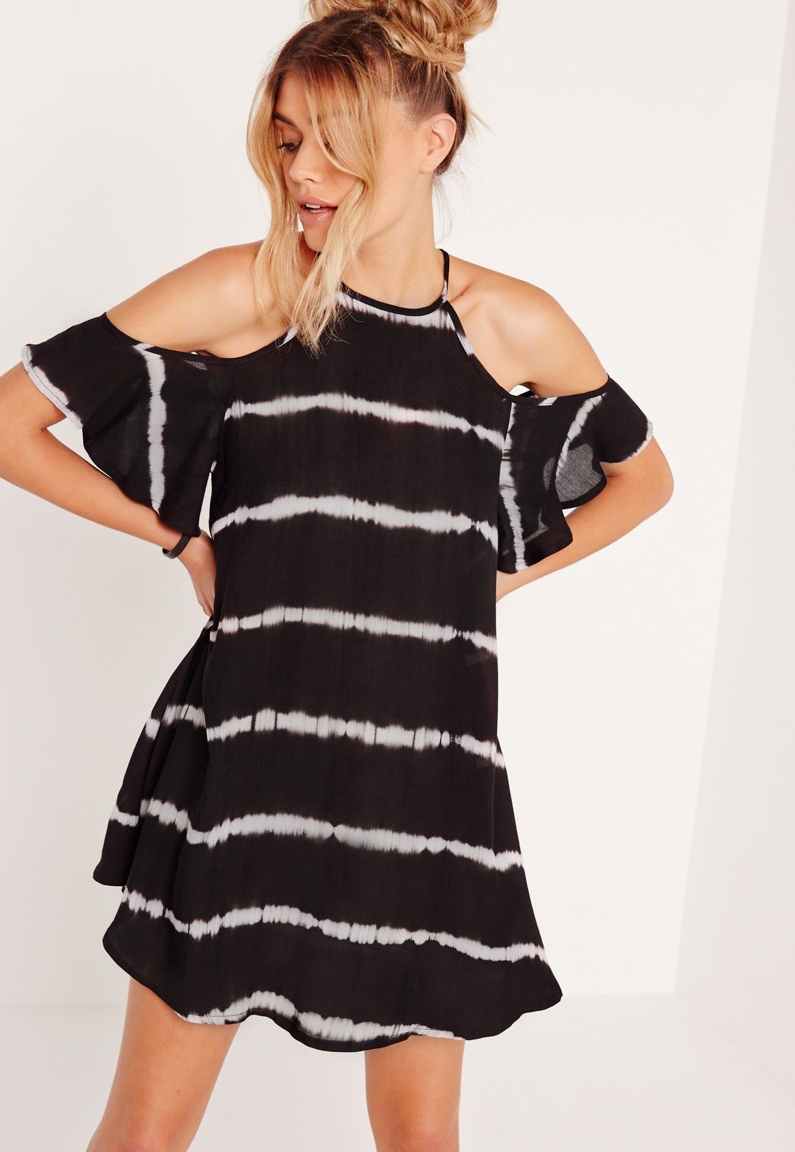 Missguided tie dye frill arms cold shoulder dress black