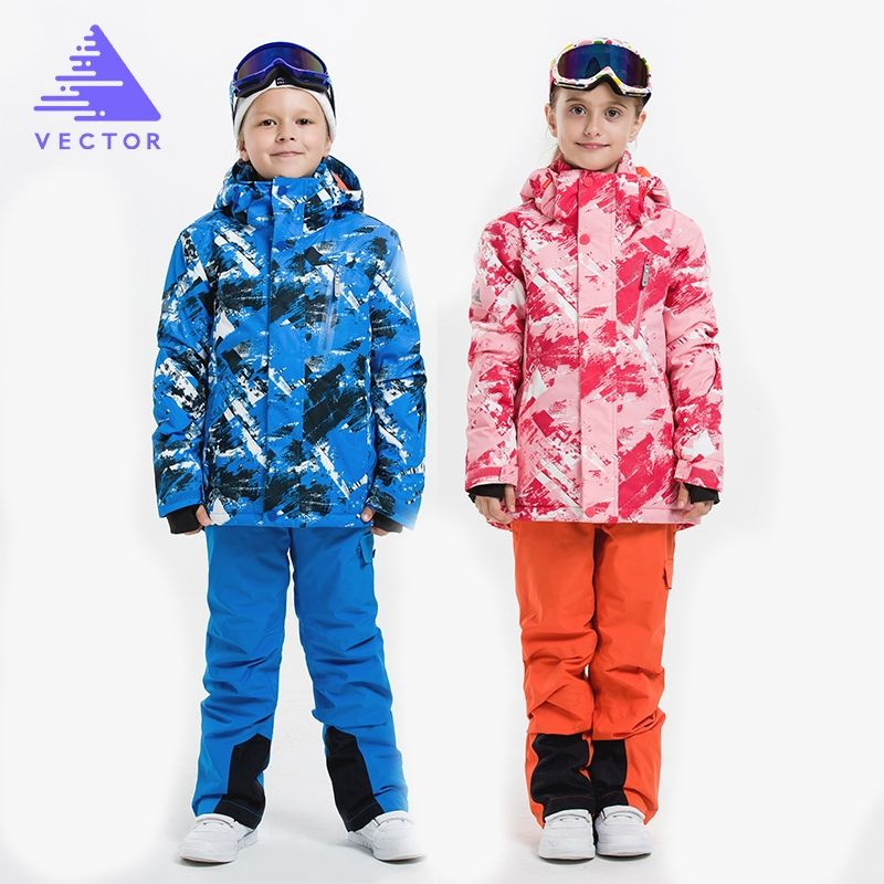 7784e0930 VECTOR Boys Girls Ski Suits Warm Waterproof Children Skiing ...