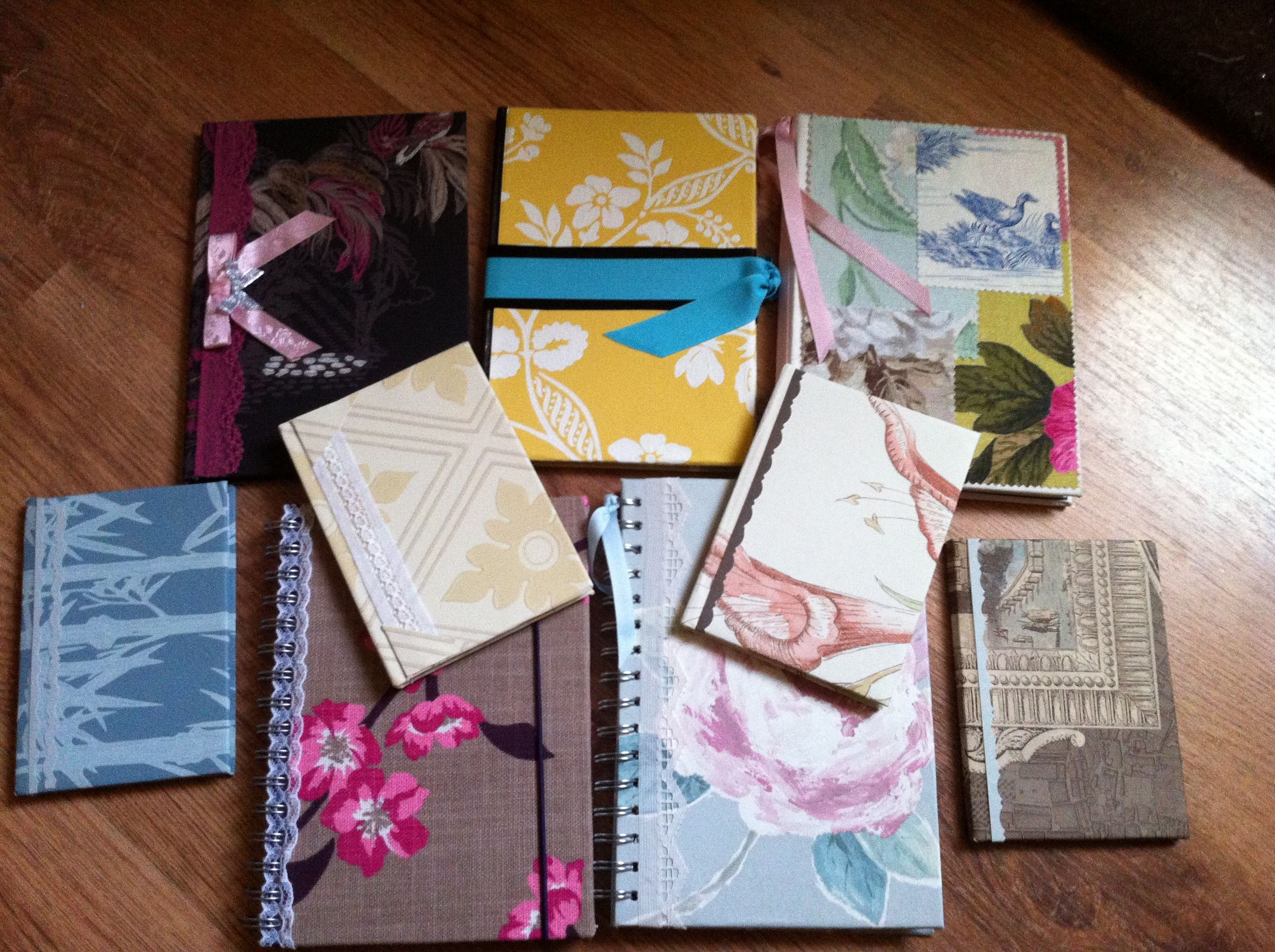 White apron poundland - Books Backed In Wallpaper And Ribbon Super Easy I Used Up All My