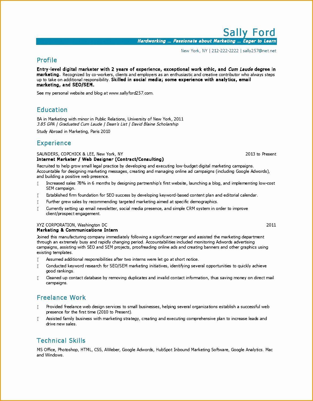 Entry Level Marketing Resume Beautiful 5 Marketing Resume Example In 2020 Marketing Resume Social Media Business Plan Job Resume Examples