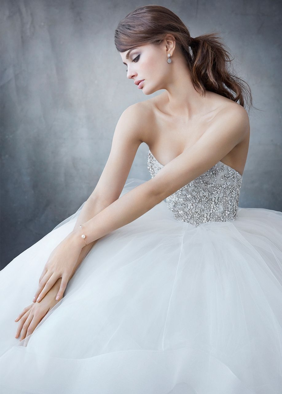 Contemporary Lazaro Organza Wedding Dress Component - All Wedding ...