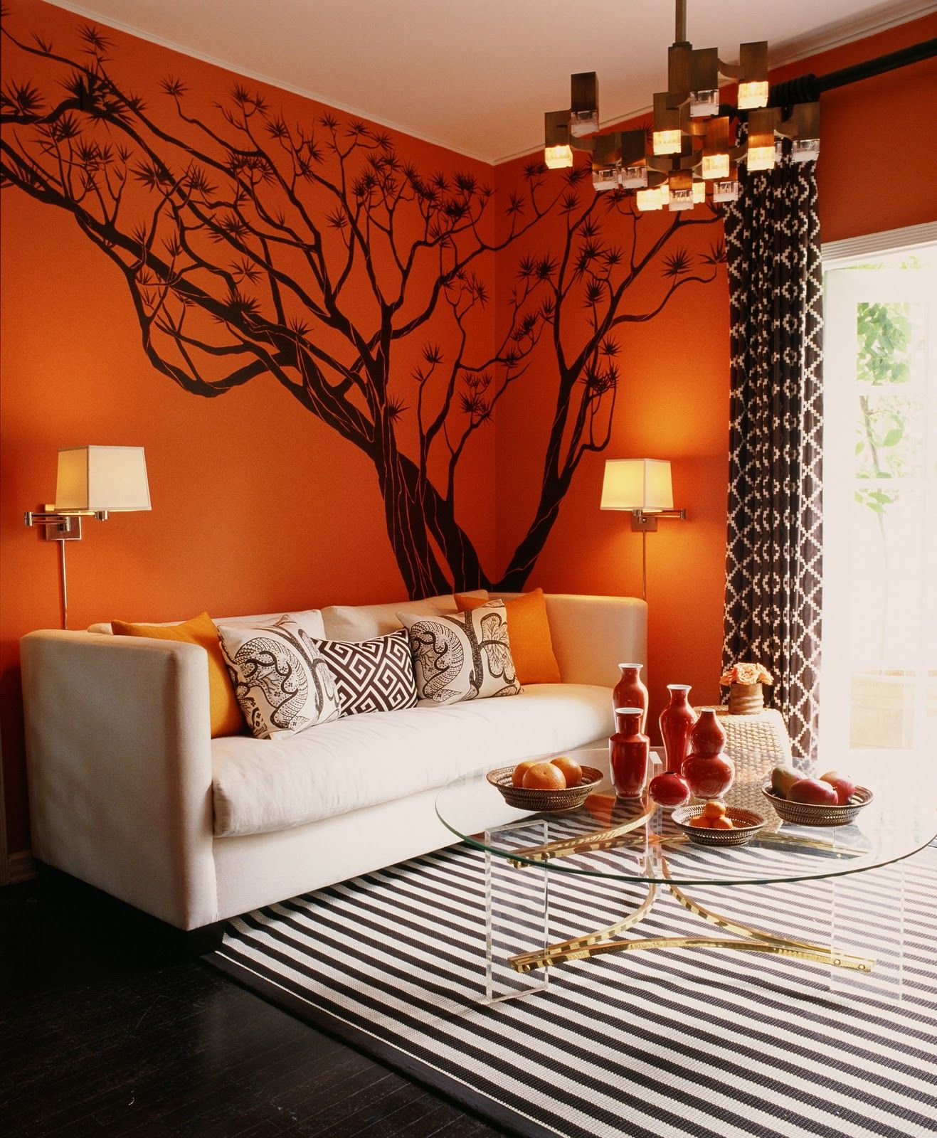 """Orange walls. I love this. =) I would attach some twinkle lights in certain spots on the branches so I could always have my own little """"starlit night""""..."""