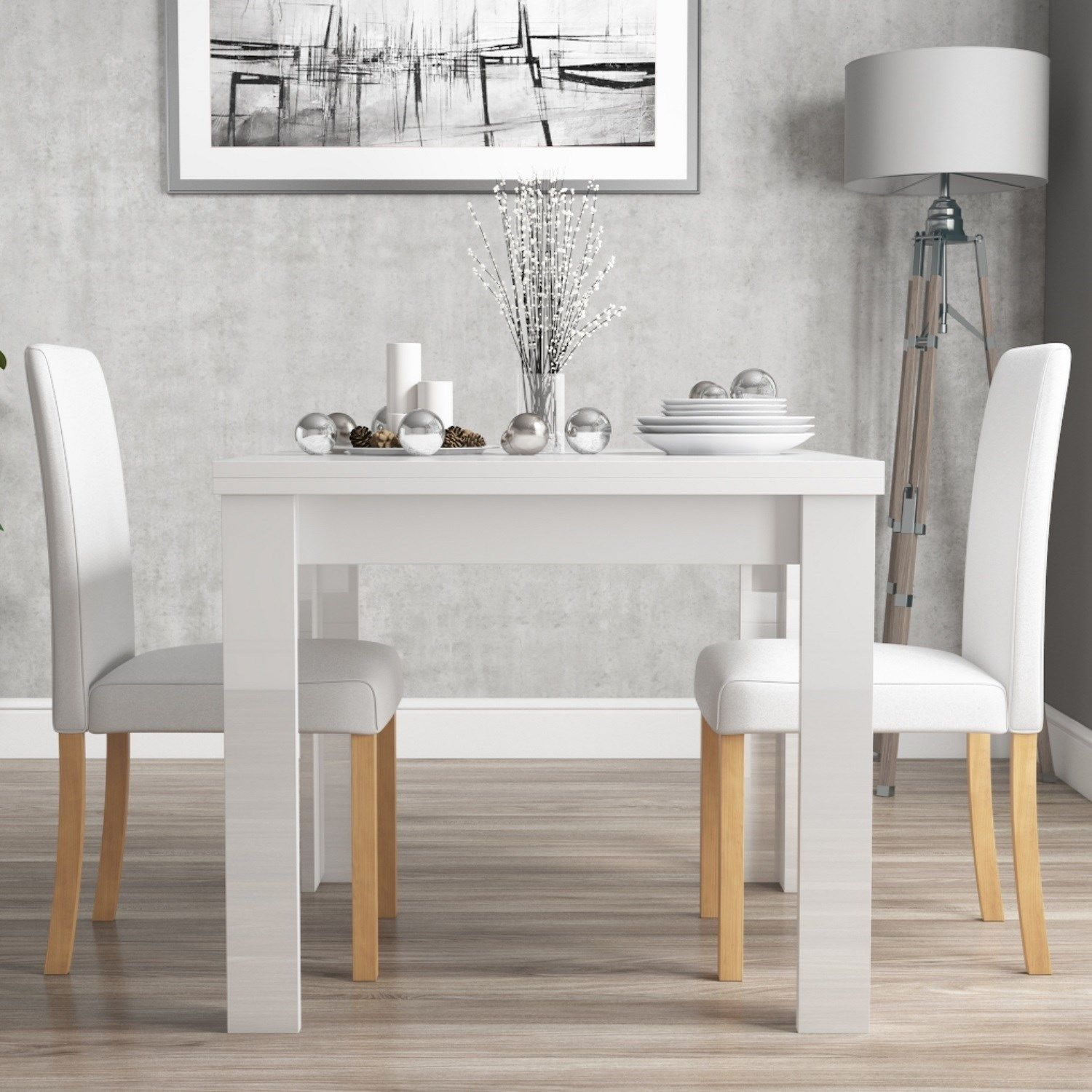 Vivienne Fliptop White Gloss Dining Table 2 Faux Leather Dining