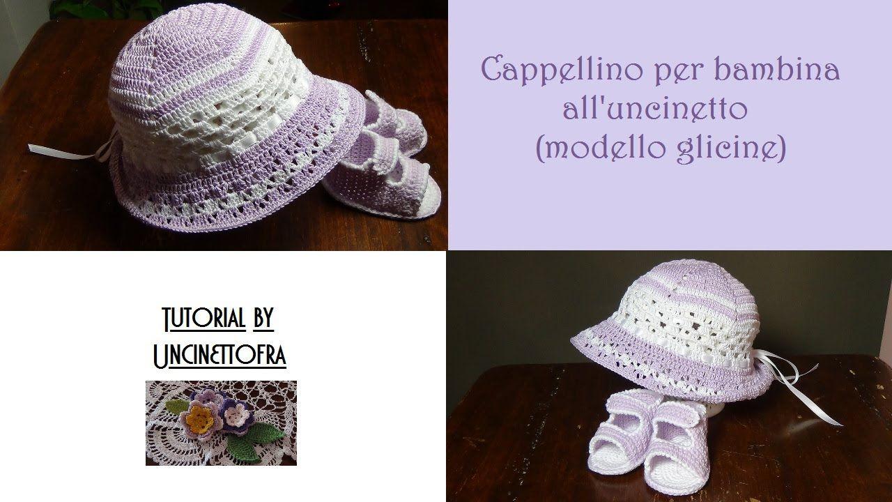 cappellino per bambina all uncinetto (modello glicine)  f5d8de0d34f9