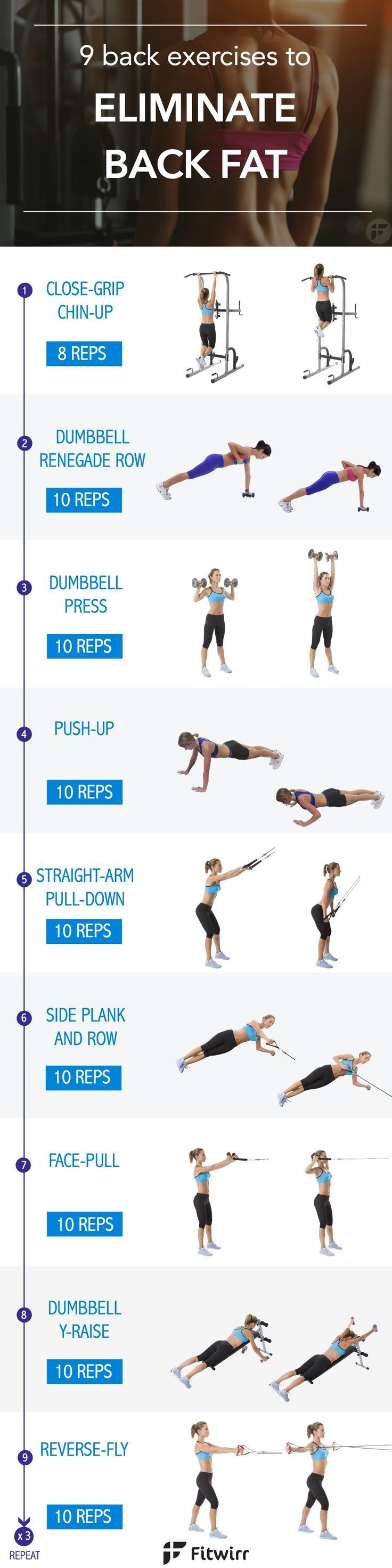 ed4fe51fa0 9 back fat exercises to eliminate the bra bulge. It s time to say good bye  to those annoying back fat. Tone your back with these 9 exercises
